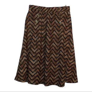 L Robert Louis Leopard Chevron Print Skirt, NWT